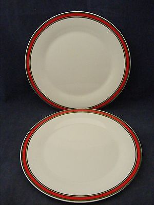 6 Royal Kent Staffordshire Dinner Plates Red Green Tan Bands Good Condition