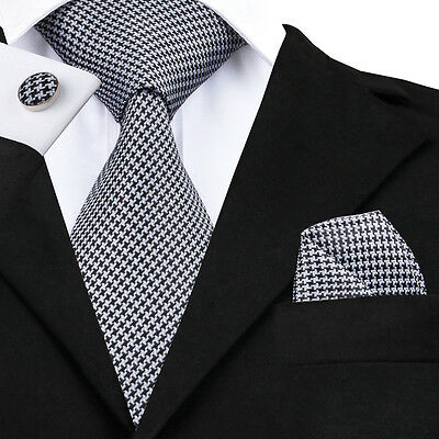 Classic Men's Hi Tie Black White Novelty Silk Necktie Set Wedding Busines SN-982