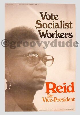 1976 Vote Socialist Workers Reid For Vice-President Original Campaign Poster 2