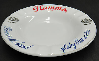 Vintage Hamm's Beer Ashtray Born in the Land of Sky Blue Waters White Porcelain