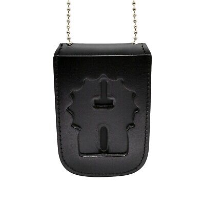 Police Detective Recessed Badge ID Neck Holder Chain Leather Fits NY NJ Agencies