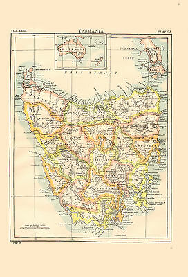 1896 Color Map of TASMANIA - Inset of Australia