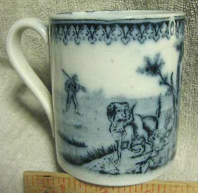 Antique Flow Blue Hand Decorated Transfer Hunting Mug Hunter Hound & Hare Rare