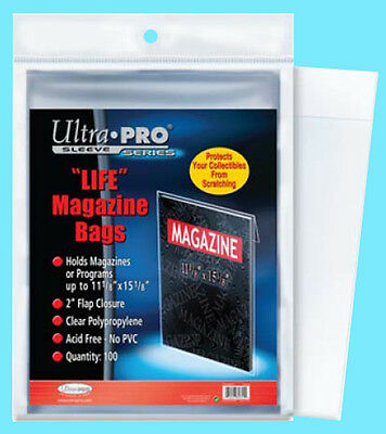 "100 ULTRA PRO LIFE MAGAZINE SIZE Storage BAGS New 11-1/8"" x 15-1/8"" Program Poly"
