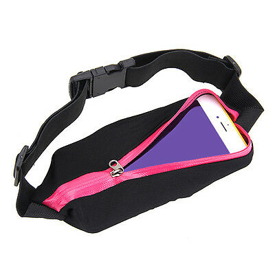 Single Outdoor Sports Running Waist Bag Pocket Belt For Samsung Cell Phone Rose