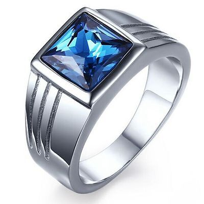 Sz 7-11 Men's Blue Sapphire Stainless Steel Fashion Wedding Engagement Ring Gift