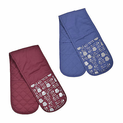 Neoprene Double Oven Gloves Silicone Grip Heat Resistant Cooking Kitchen Padded