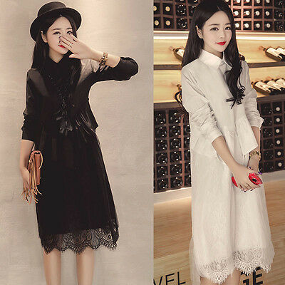 Women Korean Fashion Long Sleeve Causal Loose Solid Cocktail Party Dresses #5687