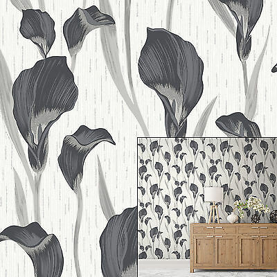 Crown Cala Lily Ebony Grey White Glitter Metallic Feature Wallpaper