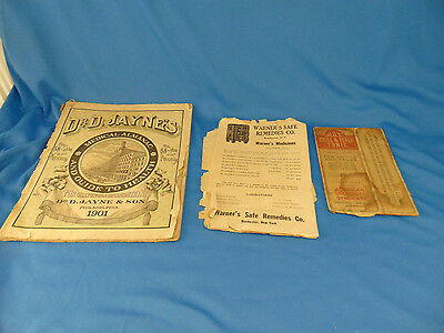 Antique quackery medicine medical almanac guide to health 1901 Ads Dr Jaynes Art
