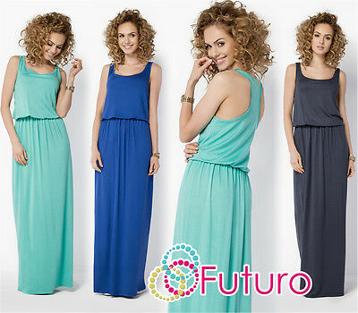 Womens Summer Vest Tank Maxi Dress Sleeveless Long Sundress Plus Sizes 8-18 FM21