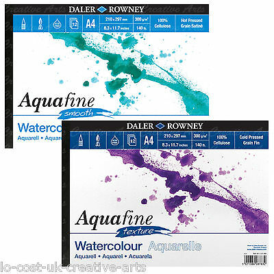 DALER ROWNEY ARTIST AQUAFINE A4 WATERCOLOUR PAINT PAD TEXTURE & SMOOTH 140lb