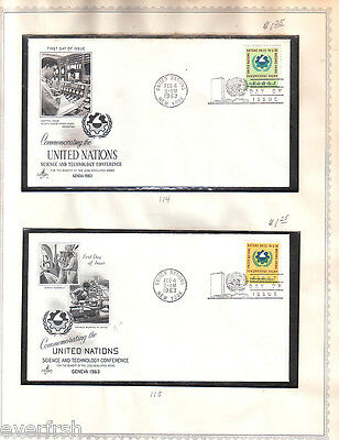 UNITED NATIONS - LOT OF 13 FDC EARLY 1960s ON PAGES (LOT 13)