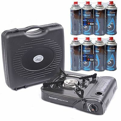 Parkland Portable Gas Stove Cooker Camping Fishing With 8 Butane Gas Refills