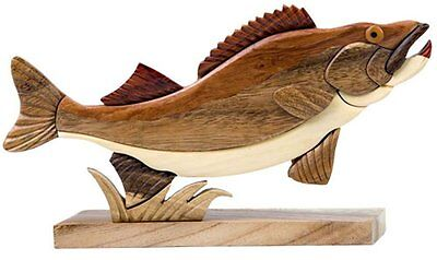 INTARSIA WOOD WALLEYE FISH TABLE DECOR, handsome handcrafted wood mosaic