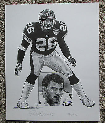 Vintage Rod Woodson 501/1000 Le Numbered Lithograph Pittsburgh Steelers