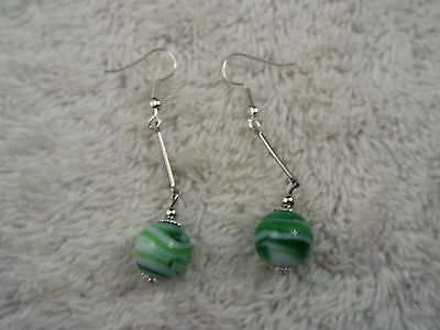 Green White Marbled Glass Bead & Stick Pierced Earrings (C36)