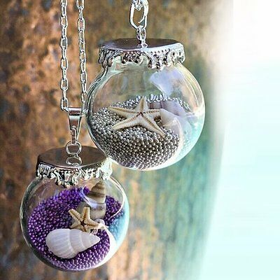Real Seafish Shell Pearl Wish Ocean Pendant Terrarium Necklace Long Chain Gift