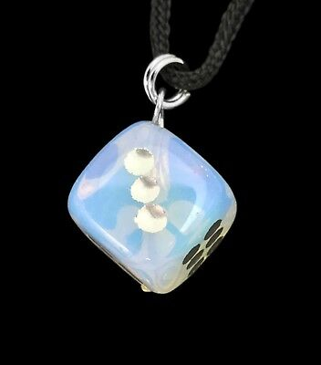 D6 Dice Opalite Hand Carved Gemstone Pendant Necklace Jewelry
