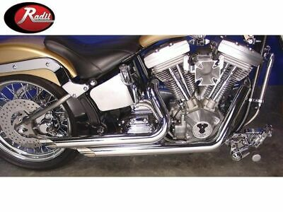 "Radii 2 1/4"" Chrome Side Slash Style Drag Exhaust Pipes Set Harley Softail FXST"