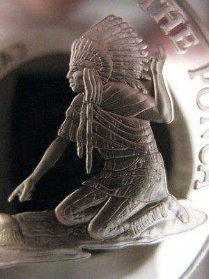7/8-Oz  Ponca American Native Indian Tribal Nations Art Coin Silver.999 + Gold