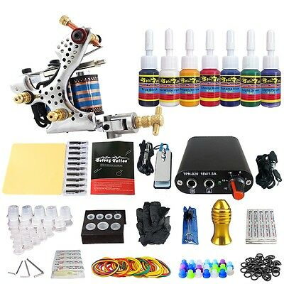 Solong Tattoo Kit de Tatuaje Ametralladora  Poder Aguja Color TK105-21-30