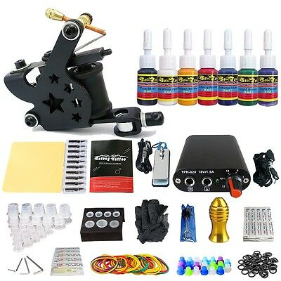 Solong Tattoo Kit de Tatuaje Ametralladora  Poder Aguja Color TK105-41-50