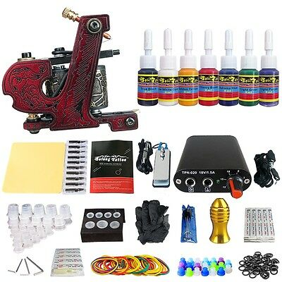 Solong Tattoo Kit de Tatuaje Ametralladora  Poder Aguja Color TK105-61-70