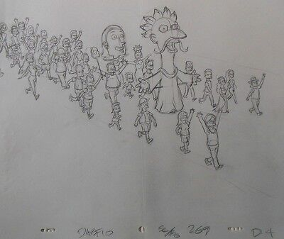 SIMPSONS TV Show Original Animation Art Cel Production Drawing #46