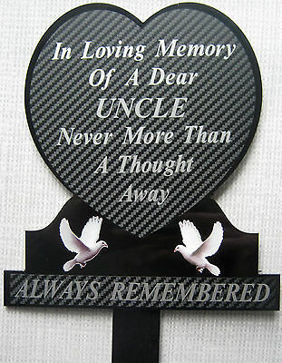 Memorial Plaque Grave Heart Personalised UNCLE In Loving Memory
