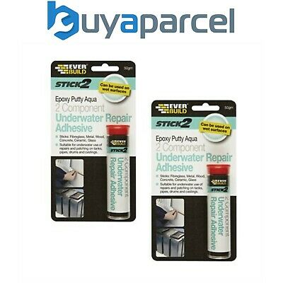 Everbuild Stick 2 Epoxy Putty Aqua 50gm Size Twin Pack