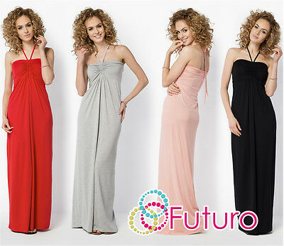 Womens Summer Maxi Dress Sleeveless Halter Neck Long Sundress Sizes 8-18 FM24