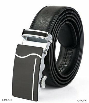 Mens Formal Black Real Leather Automatic Buckle Business Suit Trouser Waist Belt