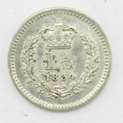 1834 1 1/2 Pence William IV .925 Fine Silver C