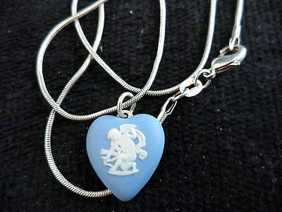 Vintage WEDGWOOD Heart Pendant Sterling Silver Necklace Chain Cupid Cameo Eros