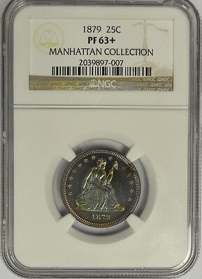 1879 Seated Liberty Quarter, NGC PF63+ Manhattan Collection. Unique Tone Proof!
