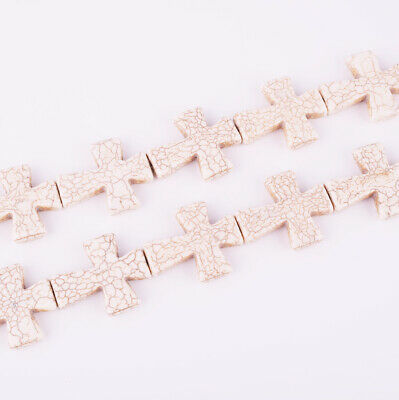 1set 15.5inch Beautiful White Turquoise carved cross loose bead BA3718