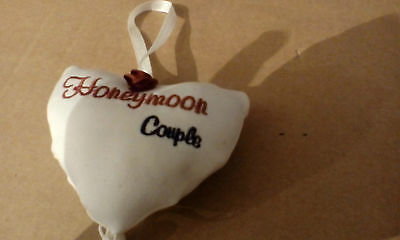 "Small White Heart For Car Or Table Decoration "" Honeymoon Couple """