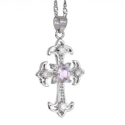 Melina Jewelry *Cross Cut Pink Sapphire Silver Tone Pendant Necklace For Dress