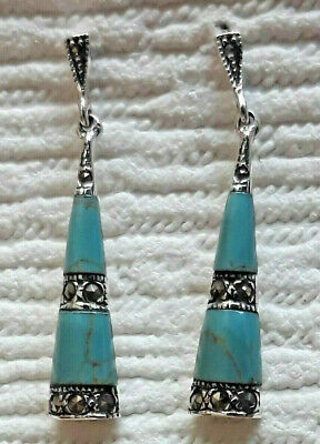 """925 Sterling Silver Turquoise /& Marcasite Small Drop Earrings on Hooks L 1.1//5/"""""""