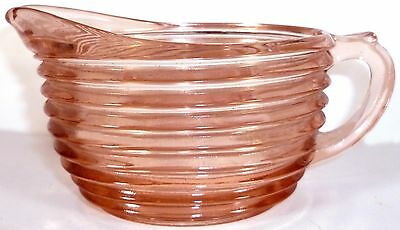 1940s Anchor Hocking Pink Depression Glass Manhattan Pattern Oval Shaped Creamer