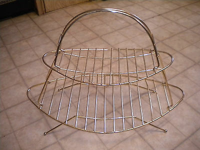 Vintage Mid-Century Modern / Two Tier Wire Surfboard Magazine Rack w/ Ball Feet