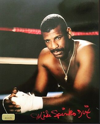 Michael Spinks Signed 8X10 Inscribed Coa Inscriptagraphs Leon 8X Mike Tyson
