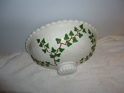 Hand Painted Ceramic Wall Sconce/ Planter/ Pocket; Green Ivy Design; Roman-Look