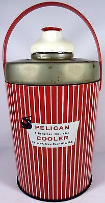 """1950's Poloron Products Pelican Line 11""""t Fiberglass Insulated Cooler Thermos"""
