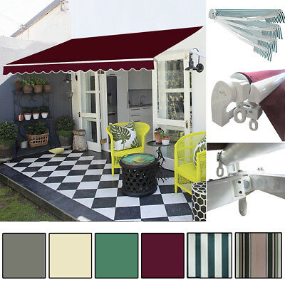 Garden Patio Manual Retractable Awning Canopy Sun Shade Shelter Upgrade Version
