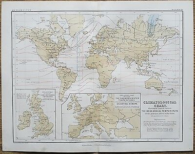 1853 Genuine Antique Map World Climatological Chart Temperatures Johnston