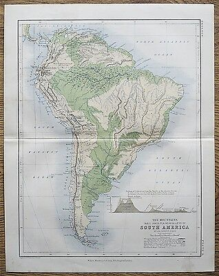 1853 Genuine Antique Map Mountains Plains Valleys Of South America Johnston