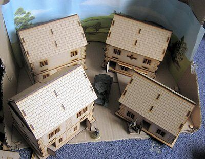 28mm Hamlet 4 houses Laser Cut MDF Building Scenery  Infinity Bolt Action