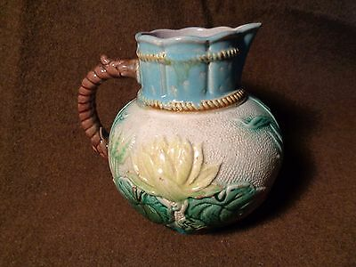 ANTIQUE MAJOLICA art pottery PITCHER